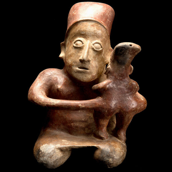 Very Tender Precolumbian Seated Jalisco Mother and Child