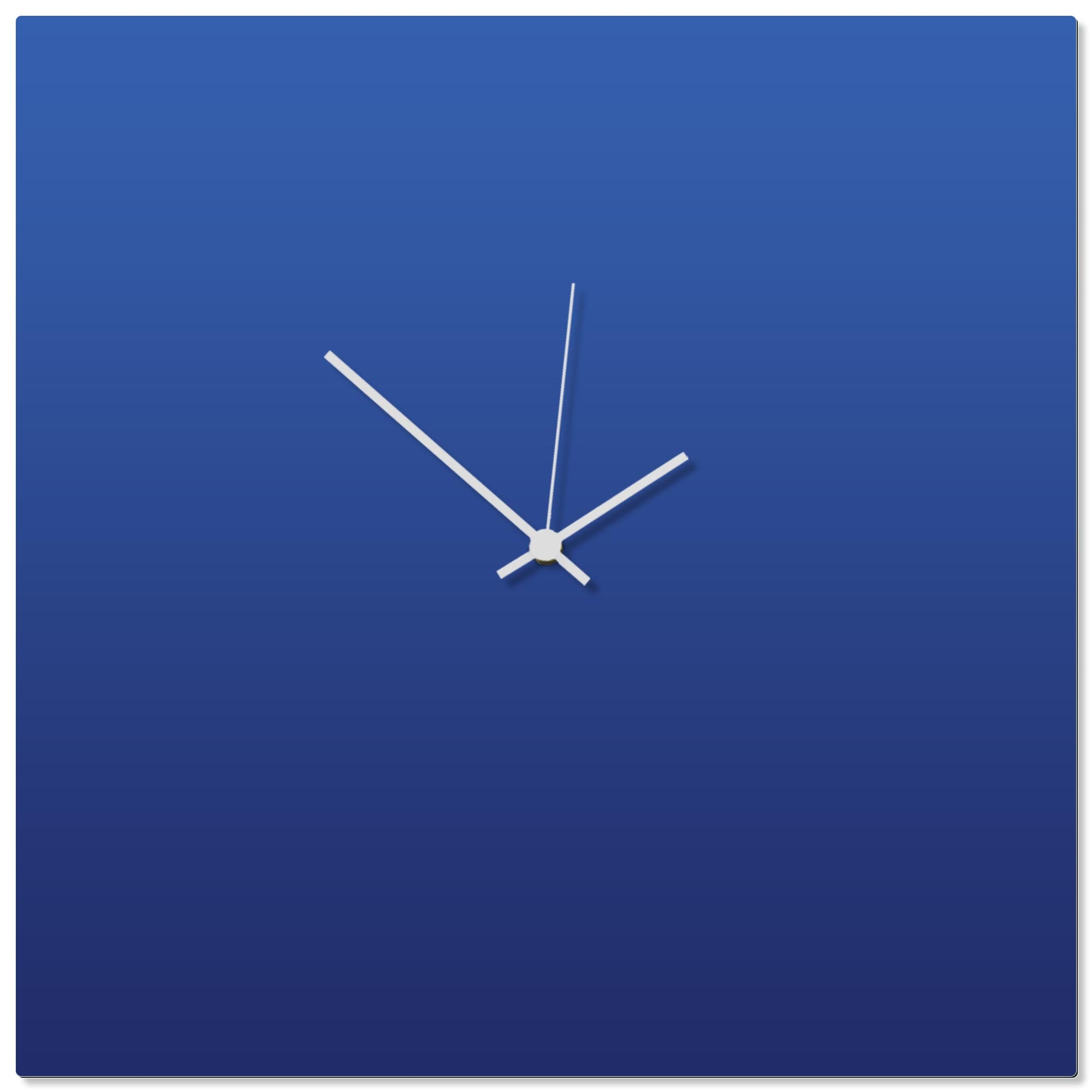 Blueout White Square Clock Large by Adam Schwoeppe - Contemporary Clock on Aluminum Polymetal