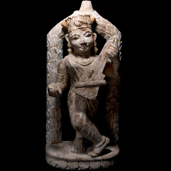 Sandstone Sculpture of Apsara Playing Sitar – 18th Century India