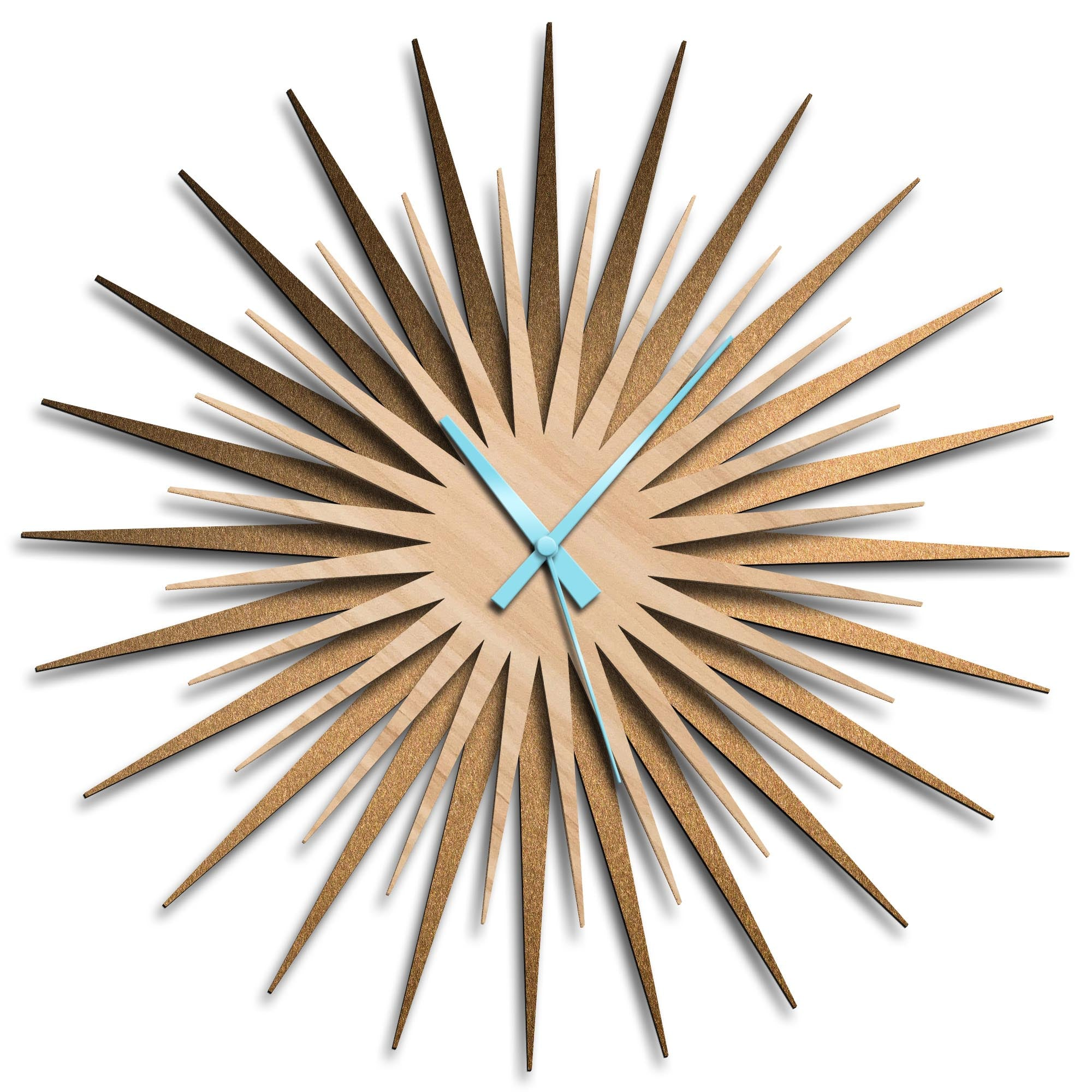 Atomic Era Clock Bronze Maple Blue by Adam Schwoeppe - Mid-Century Modern Clock on Brushed Bronze Polymetal