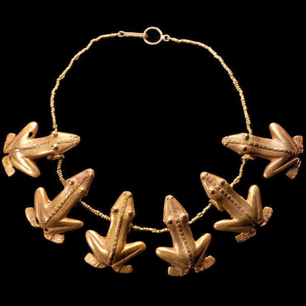Gold Quimbaya Necklace with Six Frogs in a Gold Bead Necklace. X-XIV Century, Colombia(Price On Request)