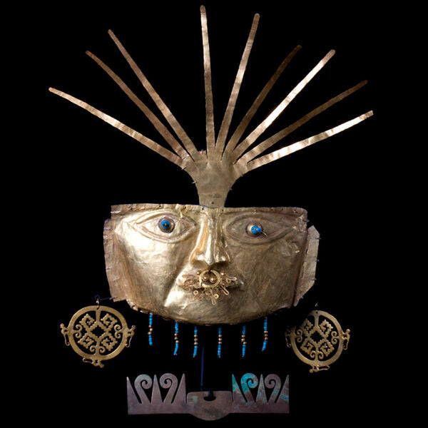 Magnificent Funerary High Karat Gold Mask with Royal Turquoise beads