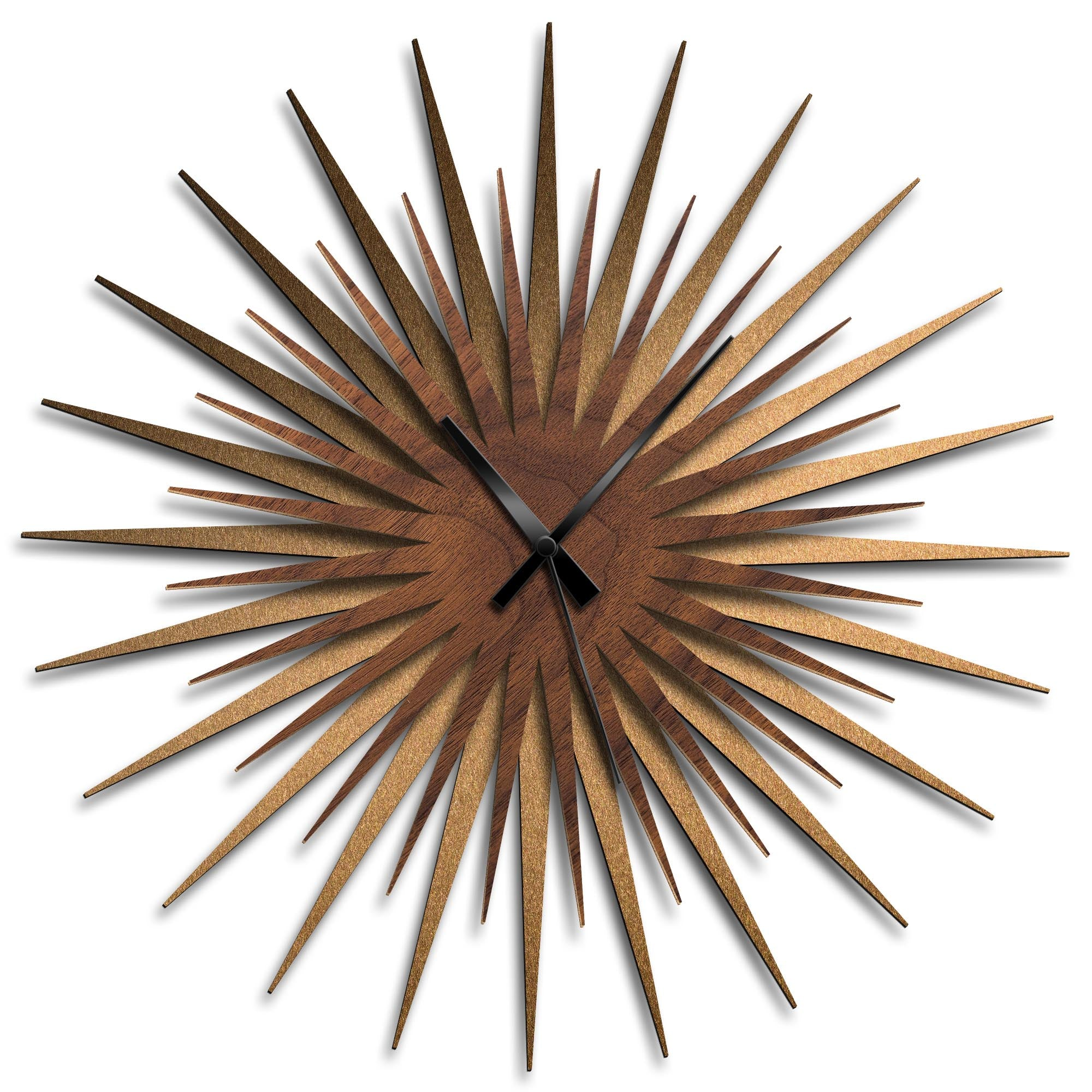 Atomic Era Clock Bronze Walnut Black by Adam Schwoeppe - Mid-Century Modern Clock on Brushed Bronze Polymetal