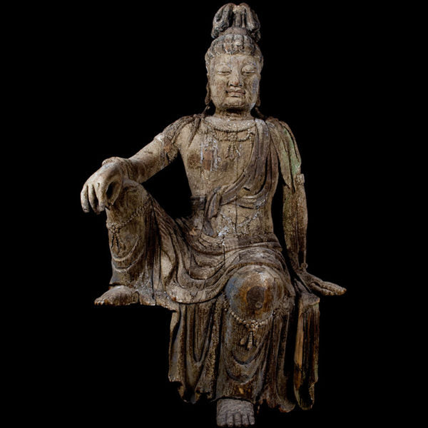 Bigger Than Life Size Wooden Bodhisattva in Royal Pose – Circa 17th Century  (Price On Request)