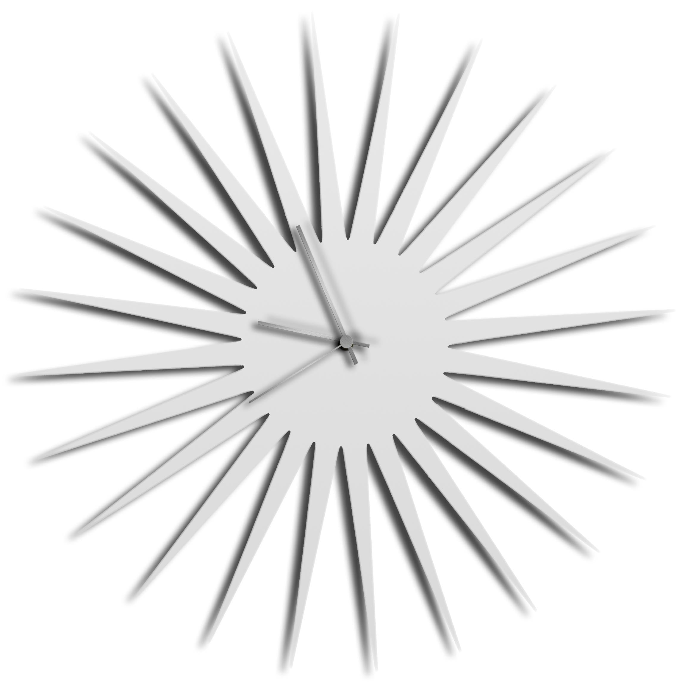 MCM Starburst Clock White Silver by Adam Schwoeppe - Mid-Century Modern Wall Clock on Brushed White Polymetal