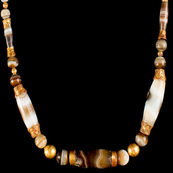 Roman Gold and Agate Beaded Necklace