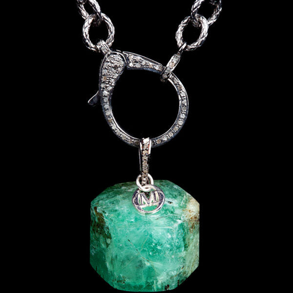 Single Hexagon Natural Emerald. 15.1 gms. 75,5 ct. Colombia with Antiqued Silver and Diamond suspension Hook