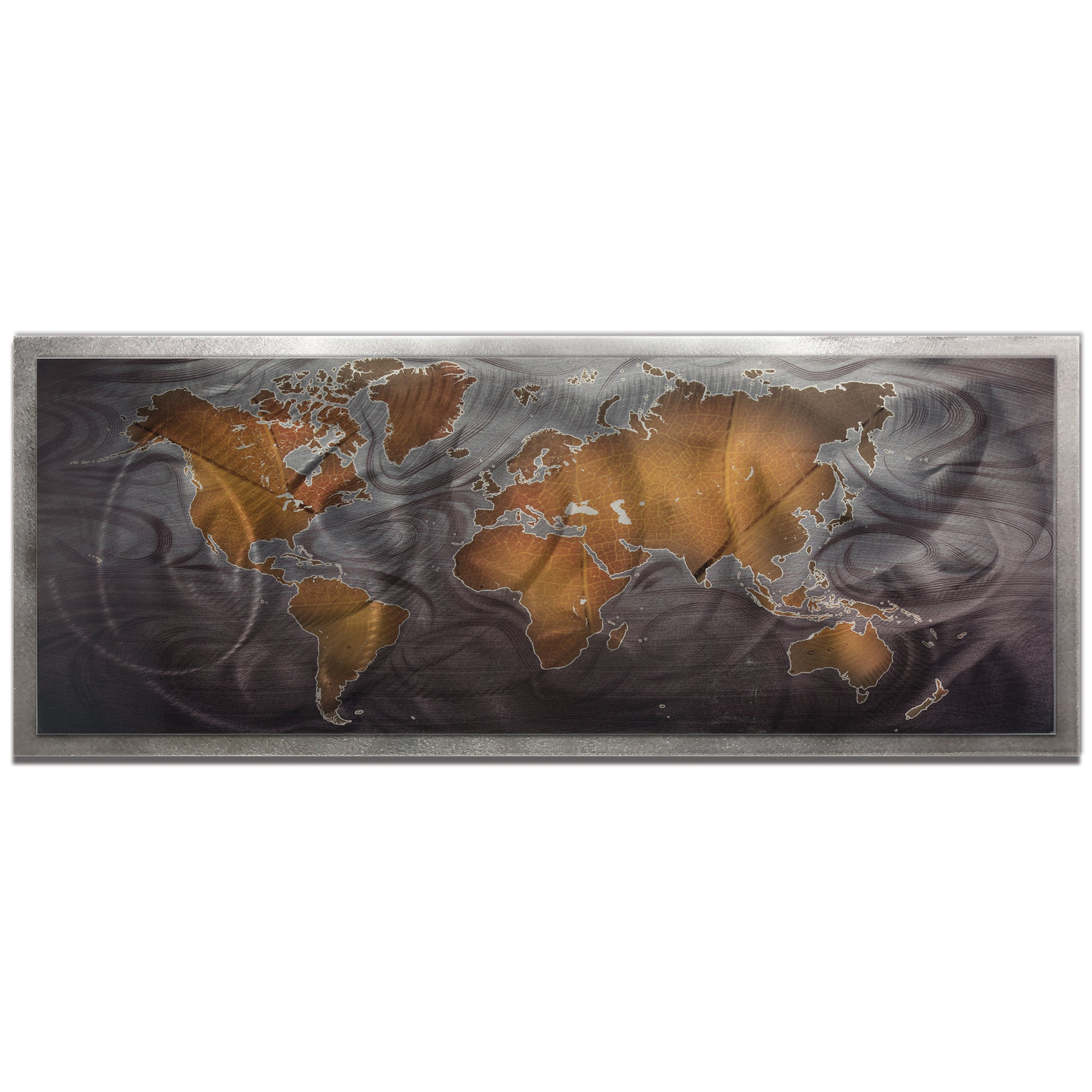 Bronze Pewter Land and Sea Framed by Amber LaRosa - Traditional World Map Art on Colored Metal