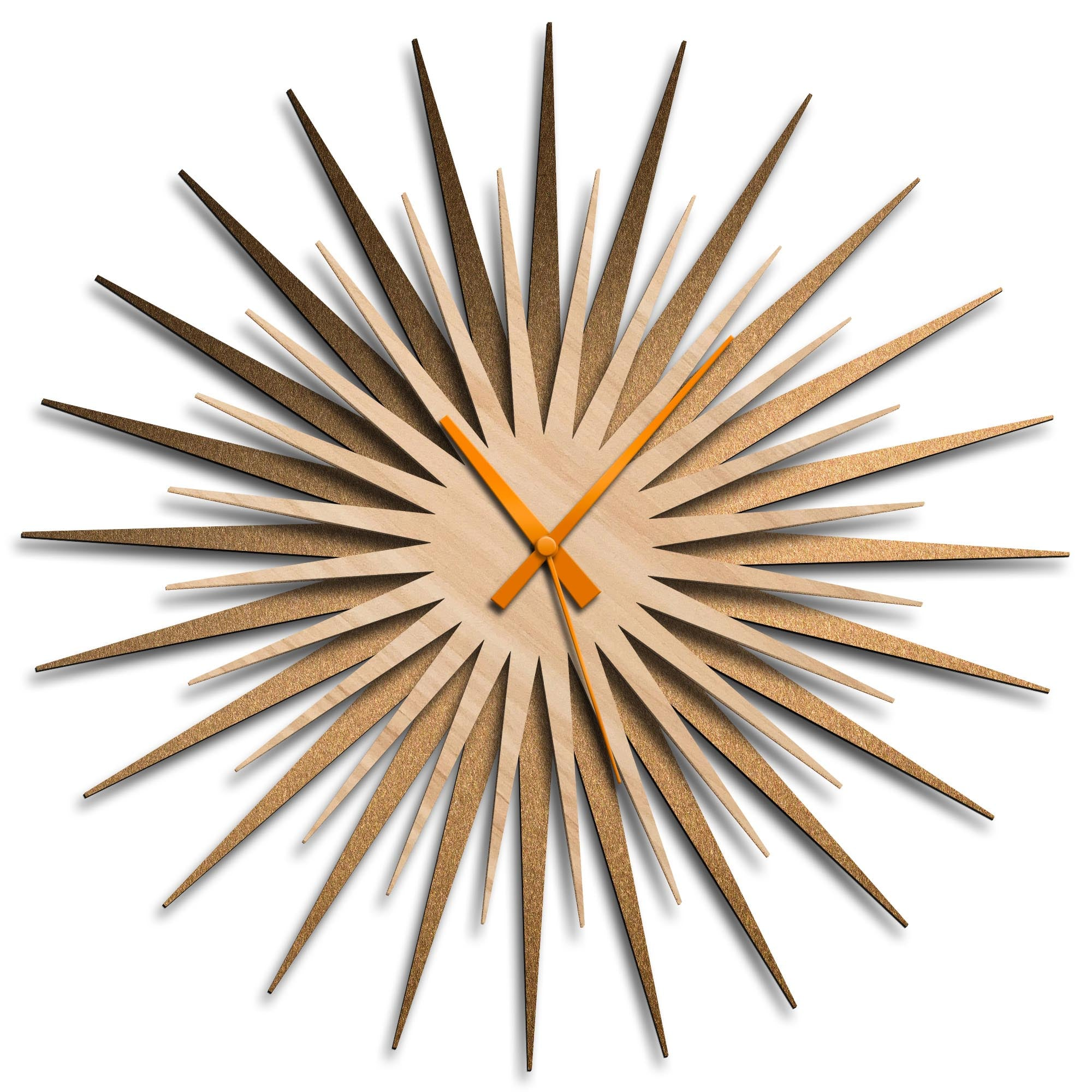 Atomic Era Clock Bronze Maple Orange by Adam Schwoeppe - Mid-Century Modern Clock on Brushed Bronze Polymetal