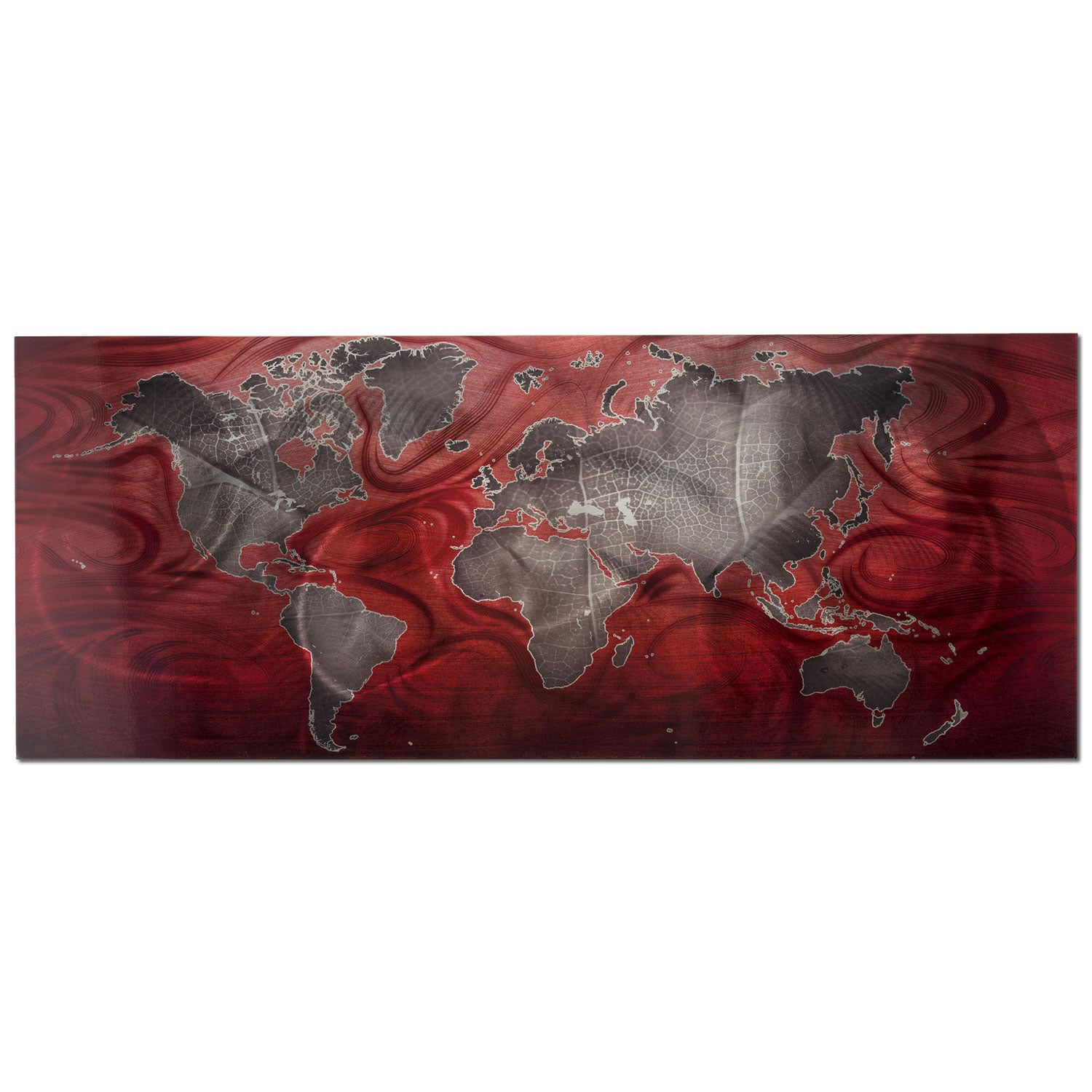 Red/Pewter Land & Sea v2 - Large Indoor/Outdoor Modern Metal Wall Art