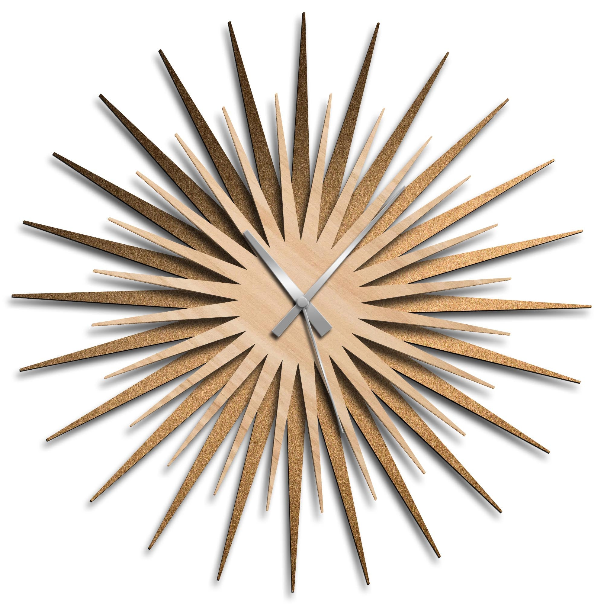 Atomic Era Clock Bronze Maple Grey by Adam Schwoeppe - Mid-Century Modern Clock on Brushed Bronze Polymetal