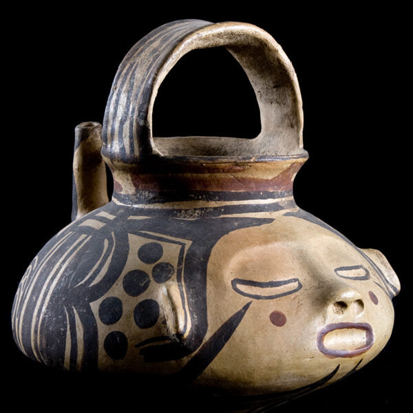Huastec Masterpiece Painted Vessel with Human Face