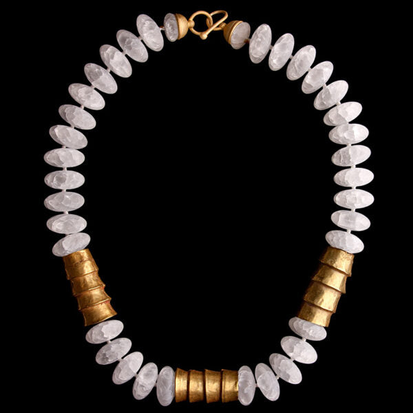 White Matte Large Oval Rock Crystal Beads and 3 Chavin Gold Necklace. South Coast, Peru. 1000-500 BC.