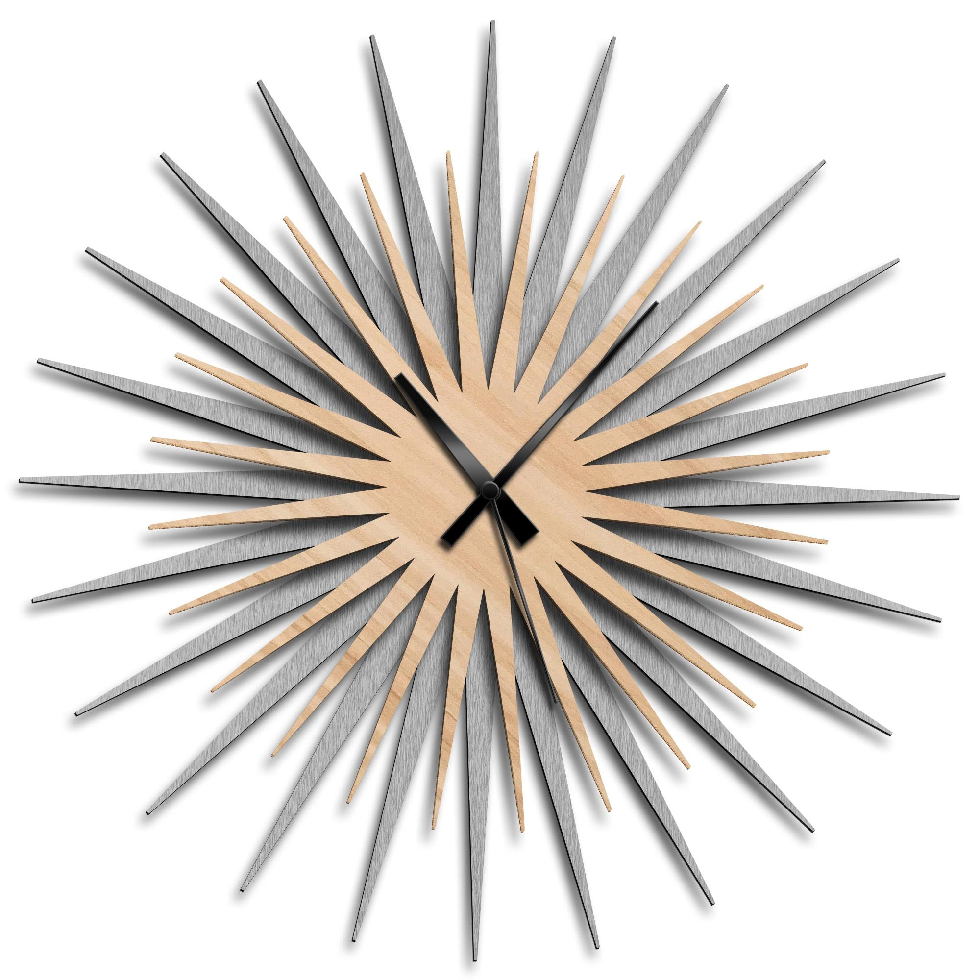 Atomic Era Clock Silver Maple Black by Adam Schwoeppe - Mid-Century Modern Clock on Brushed Silver Polymetal