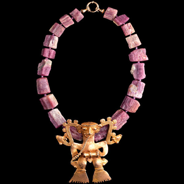 Pink Tourmaline Necklace with Rare Gold Veraguas/Diquis Supernatural Drummer (Price On Request)