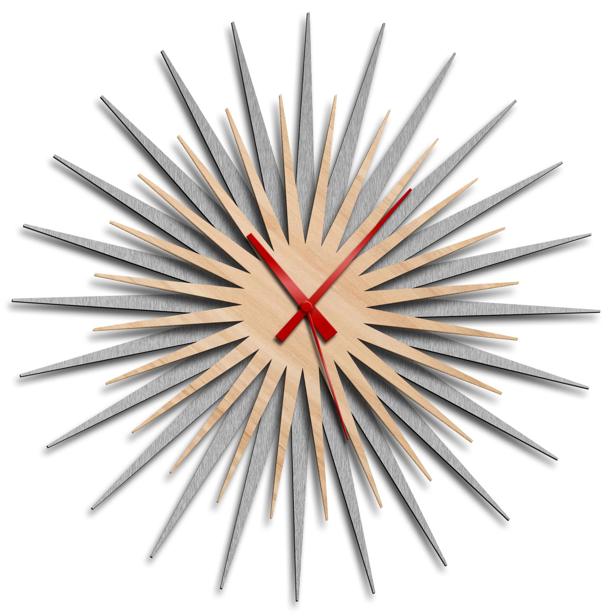 Atomic Era Clock Silver Maple Red by Adam Schwoeppe - Mid-Century Modern Clock on Brushed Silver Polymetal