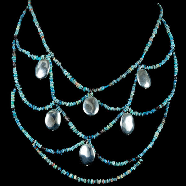 Webbed  Necklace & Earrings made with original egyptian beads and silver