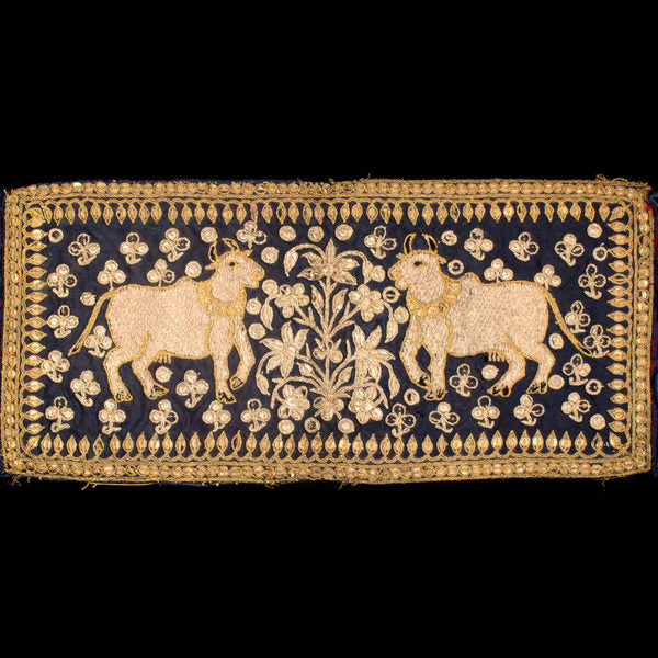 Old Indian Gold and Silver Thread Embroidery with Kamadhenu Motif