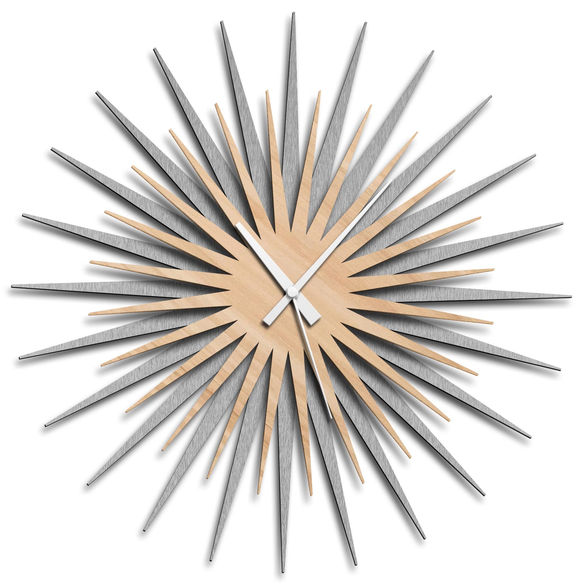 Atomic Era Clock Silver Maple White by Adam Schwoeppe - Mid-Century Modern Clock on Brushed Silver Polymetal