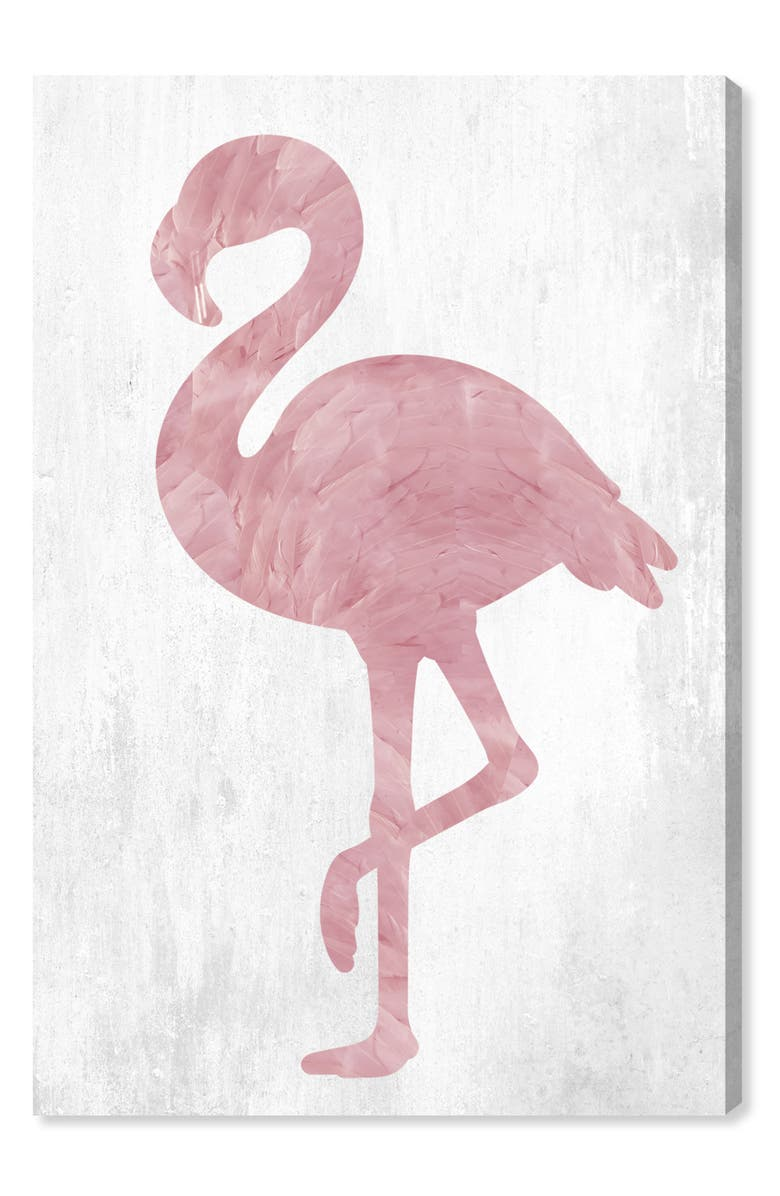 Pink Feathered Flamingo Canvas Wall Art