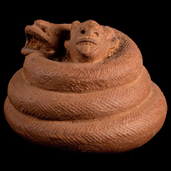 Unique Nok Terracotta of Snake Strangling a Lamb. TL Test. I-II Century AD.
