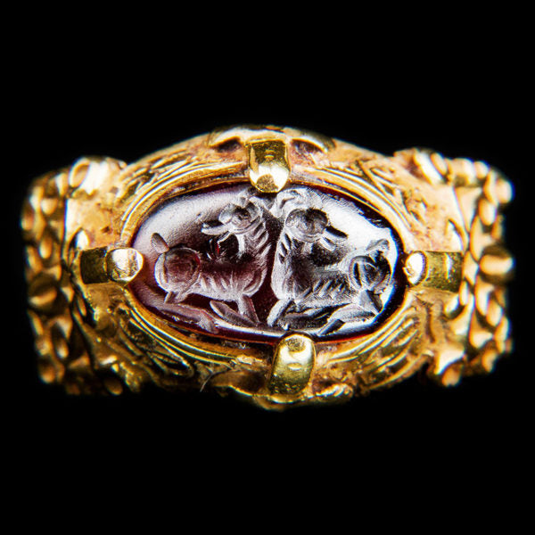 A Masterpiece Byzantine 14K Gold Ring with Garnet Ibexes Intaglio