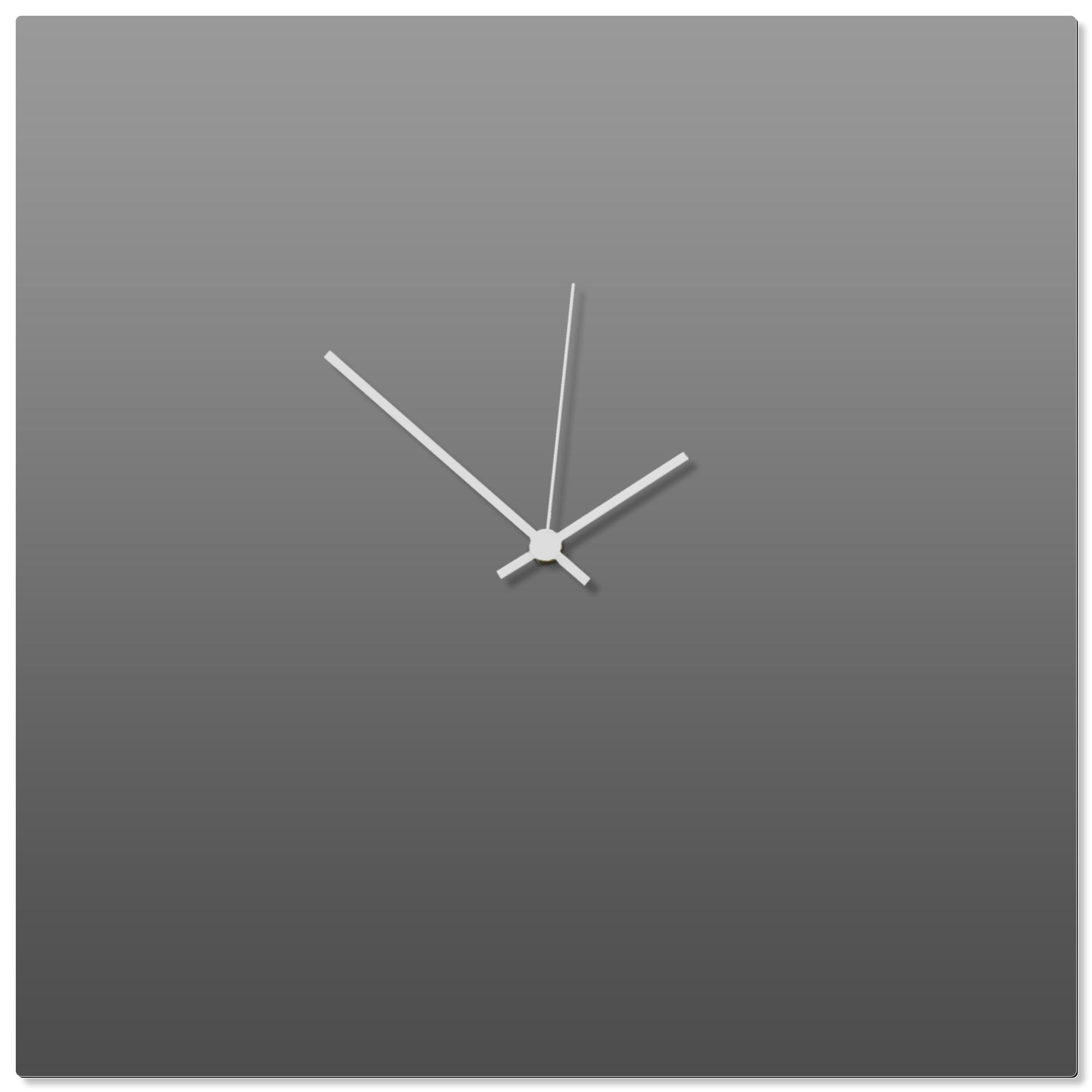 Grayout White Square Clock Large by Adam Schwoeppe - Contemporary Clock on Aluminum Polymetal