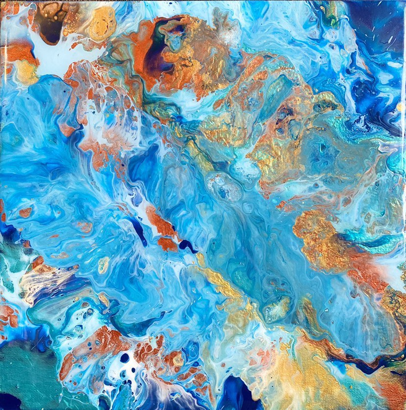 Commissioned blue, gold, copper, Fluid Art painting by female artist Alessia Camoirano Bruges