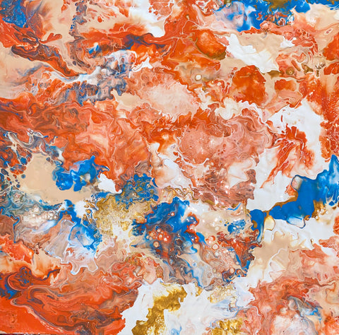 Orange, blue, white Fluid art painting finished with resin by female artist Alessia Camoirano Bruges