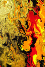 Carica l'immagine nel visualizzatore di Gallery, Fluid abstract fine art in red, gold, orange, yellow using chromology exploring mental health
