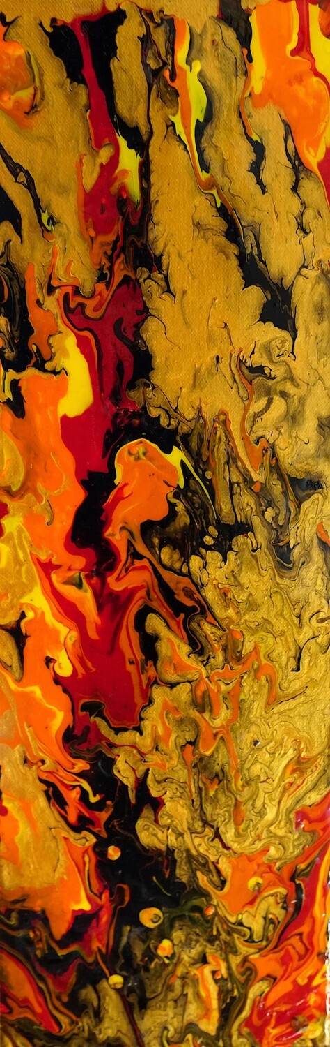 Fluid abstract fine art in red, gold, orange, yellow using chromology exploring mental health
