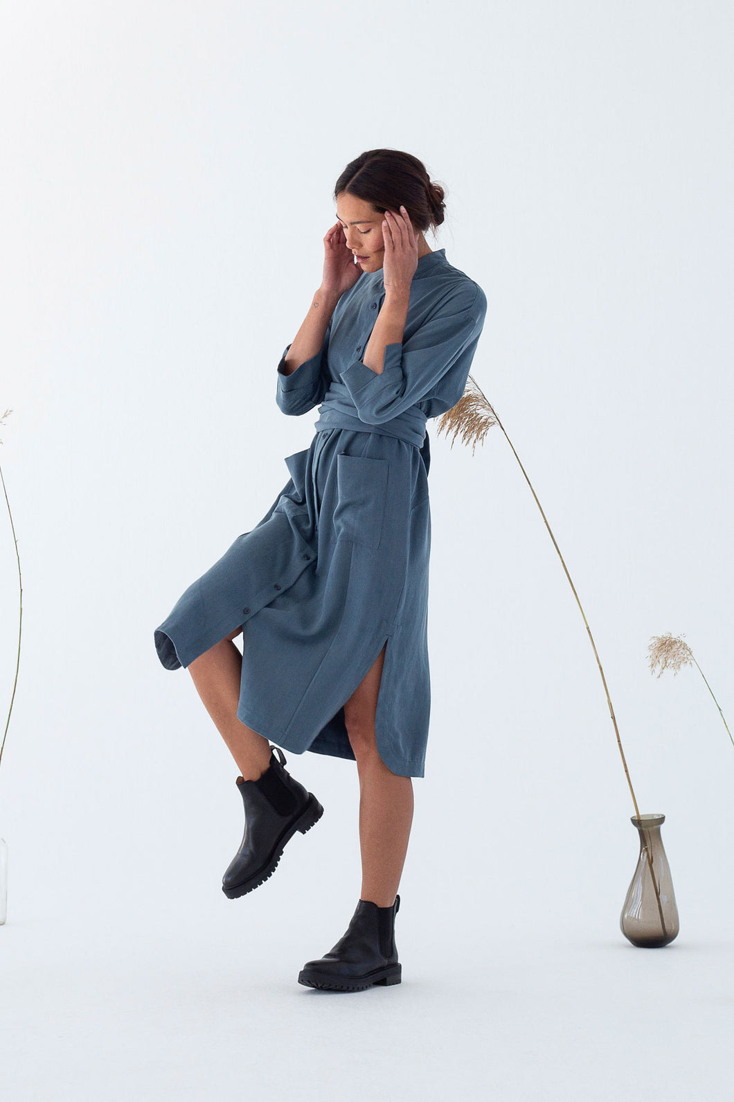 GUNMA SHIRT DRESS Dark Slate