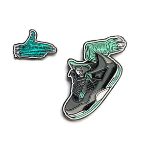 Load image into Gallery viewer, Run Them J's - Green Glow pin