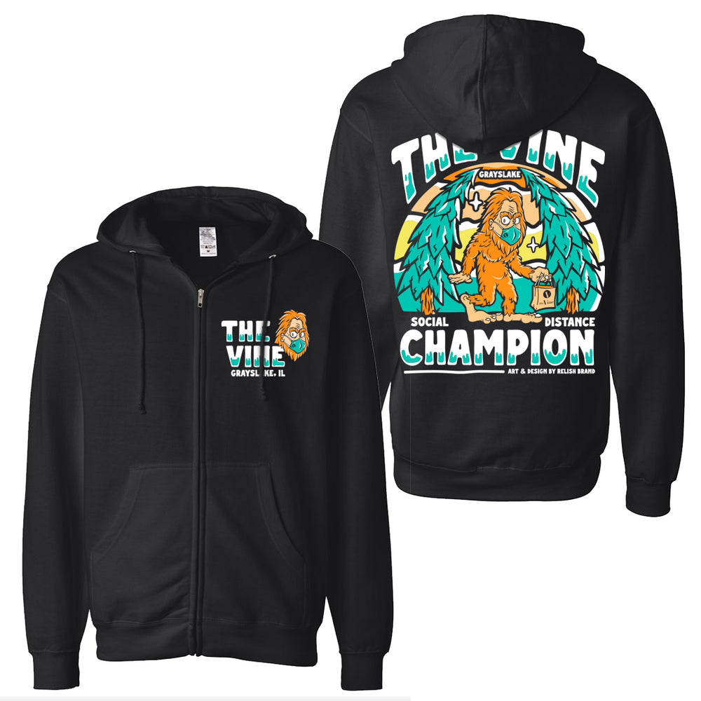 Social Distance Champion Zip-up Hoodie - Collab with The Vine martini & Wine bar