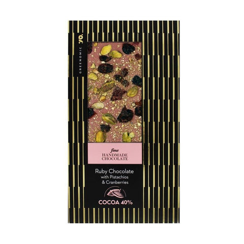 Fine Chocolate | Ruby Chocolate with Pistachios & Cranberries
