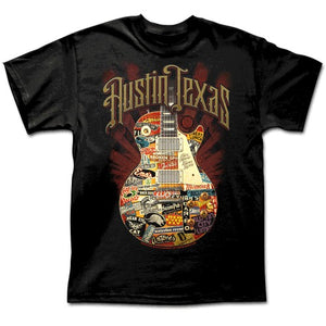 Austin Live Music Guitar  - Black Tee