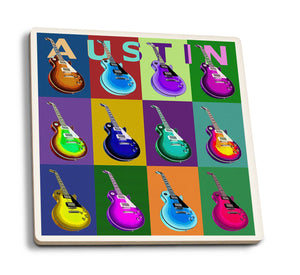 Austin - Texas Guitar Pop Art Ceramic Coasters