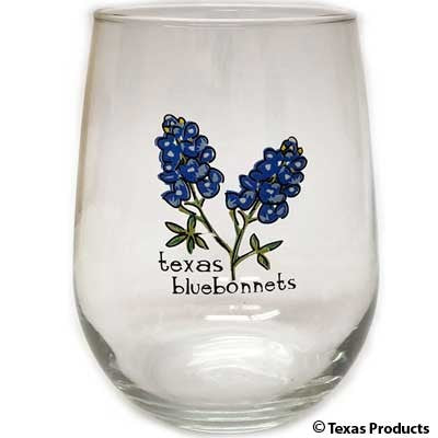 BlueBonnet Stemless Wine Glass
