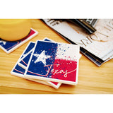 Texas State Flag Abstract Watercolor Splatter Coasters