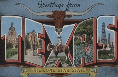 Greetings from Texas - Vintage Halftone Ceramic Coaster