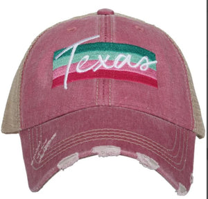 Striped Layered Trucker Hat (Mauve/Teal)