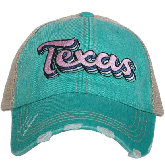 Texas Layered Trucker Hat (Blackl/Mauve/Teal)