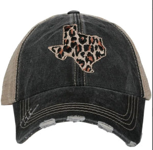 Leopard Texas Cut Out Hat (Black)