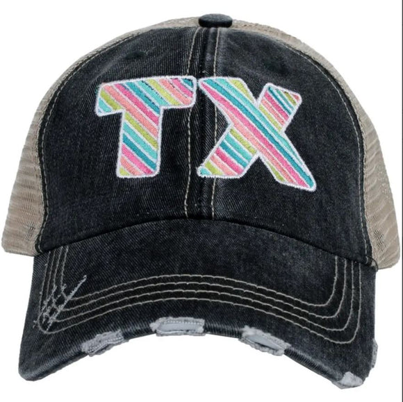 Rainbow Striped Trucker Hat (Black)