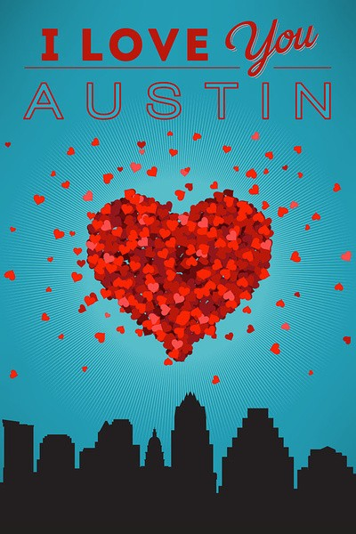 I Love You Austin - Texas Ceramic Coasters