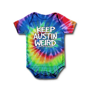 Original Keep Austin Weird - Tie-Dye Rainbow Onesie