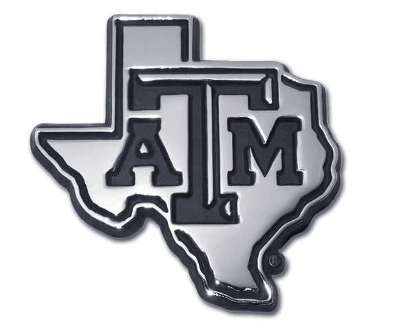 Texas A&M State Shape Chrome Emblem