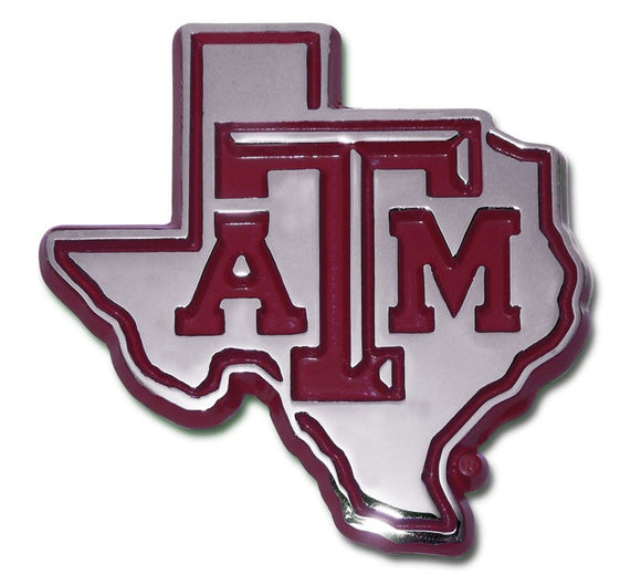 Texas A&M State Shape Maroon Emblem