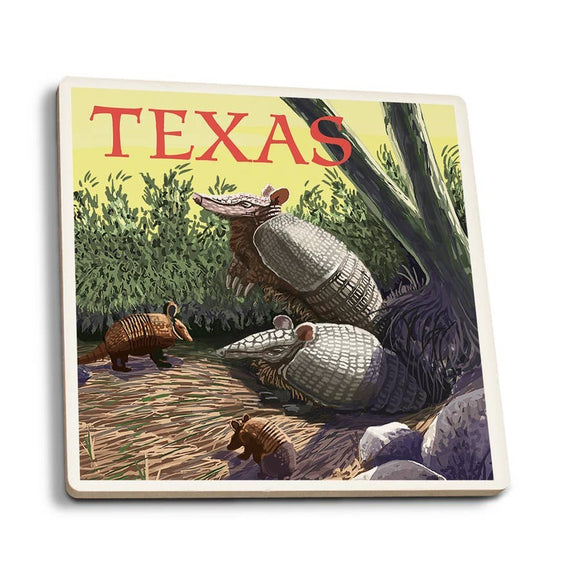 Texas - Armadillo Ceramic Coaster