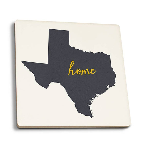 Texas - Home State - Gray on White Ceramic Coaster